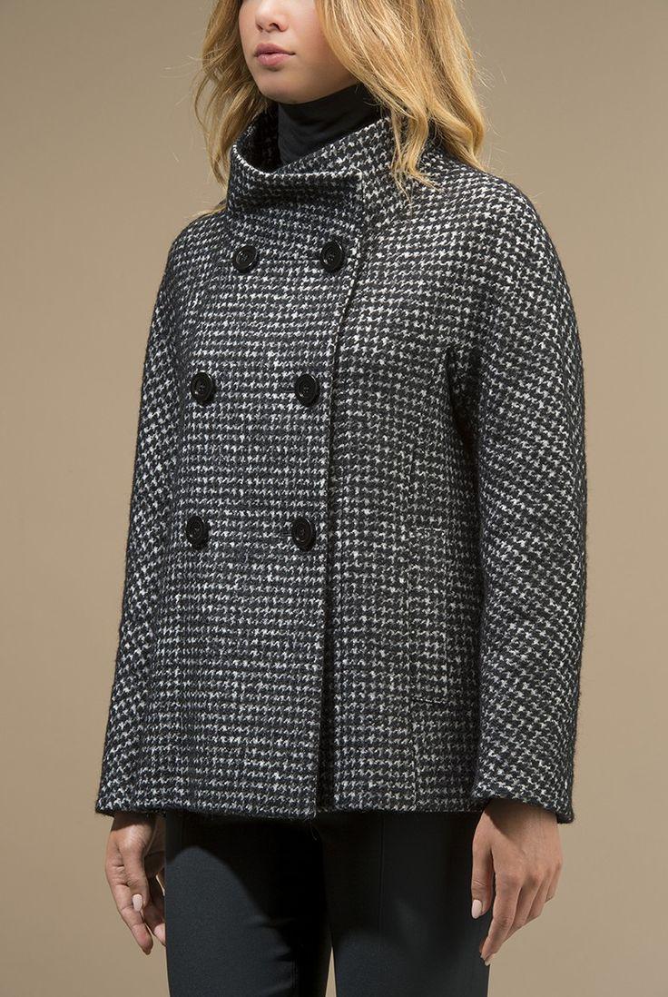 Giaccone in tweed di lana seta mohair e alpaca - Giacconi - Cappotti e Giacconi