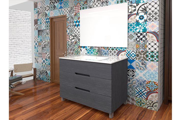Online sale Bathroom Design / 34801 / Meubels / Meubels - 40 t/m 80 cm / Set Wastafelmeubel 3 Laden, Keramische Wastafel en Spiegel met LED - Antraciet - 80 cm