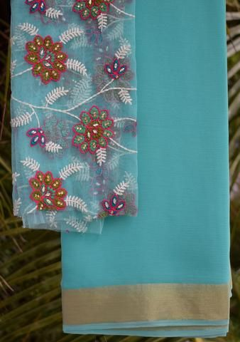Blue saree with embroidered blouse piece