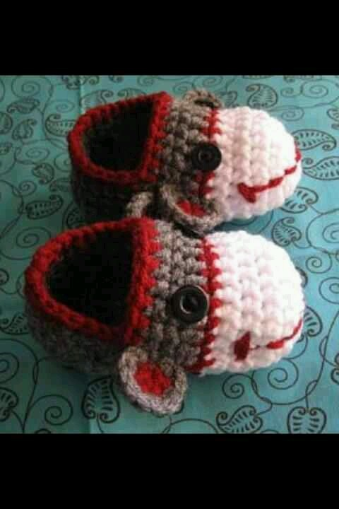 Sock monkey booties. I want these in my size!