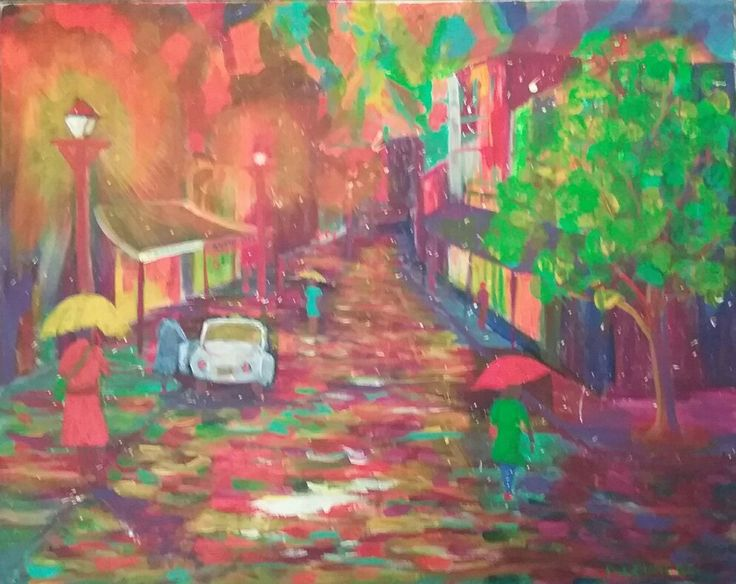 """City Lights, acrylic on stretched canvas 16"""" x 20"""""""