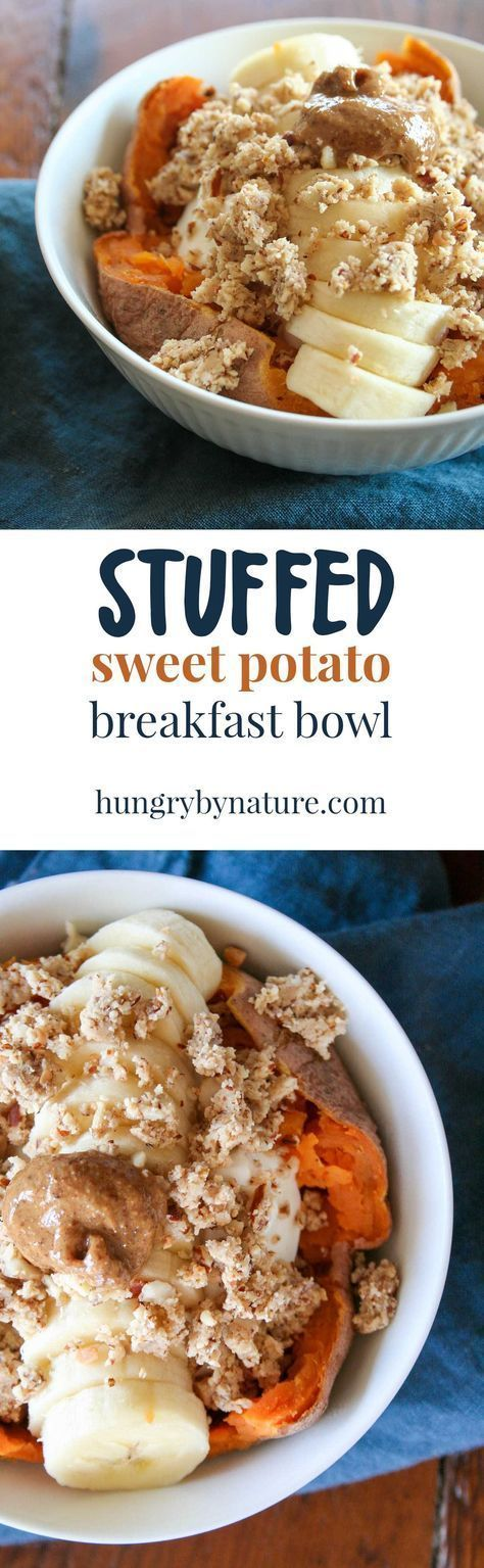 STUFFED sweet potato breakfast bowl | Siggi's, Wella Bar, easy, gluten free, recipe, simple, healthy, almond butter | http://hungrybynature.com - Tap the pin if you love super heroes too! Cause guess what? you will LOVE these super hero fitness shirts! http://eatdojo.com/healthy-breakfast-tips-easy-fat-burning/