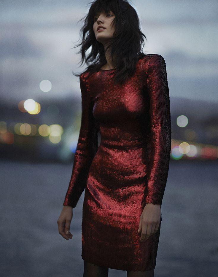 party | sequin dress | Istanbul'da Gece: Katlin Aas By Emma Tempest For Vogue Turkey December 2014