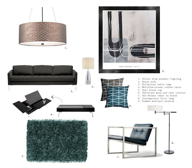 Christinamisscreative THE ULTIMATE BACHELOR PAD Living Room Mood