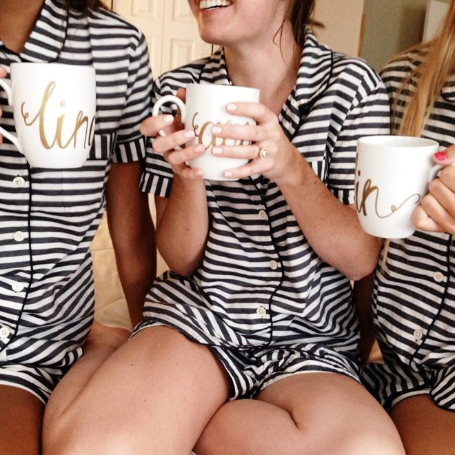 Custom white and gold coffee mugs from Style Dahlia