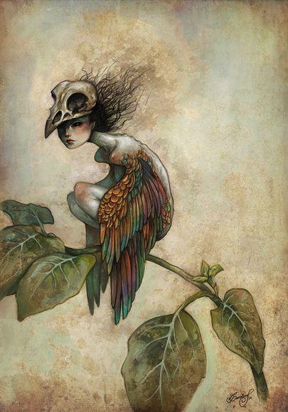 """Impressão giclée de minha ilustração digital """"Soul of a Bird"""". Lua Turquesa - CWB"""
