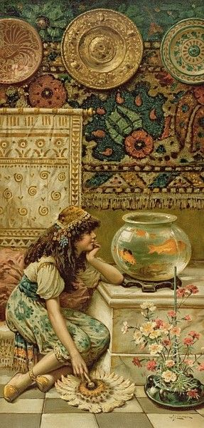 young girl mesmerized by goldfish in large glass fishbowl...William Stephen Coleman...beautiful...