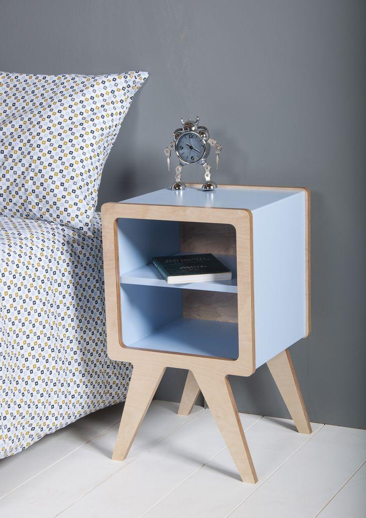 Obi furnitureu0027s Space bedside table with blue