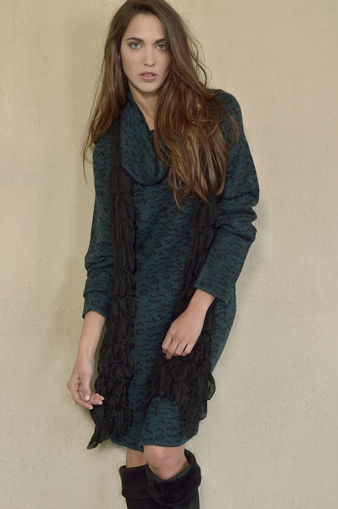 Sarah Lawrence - jacquard cowl-neck knitted dress.