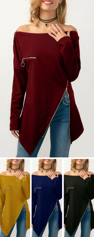 Long Sleeve Zipper Embellished Bardot Blouse          #top #christmas #christmasgifts #womensfashion #shopping #fall #winter #liligal