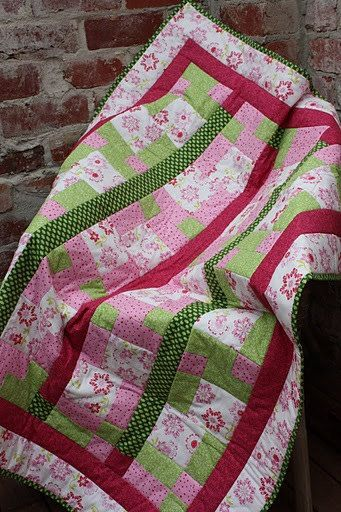 Pretty Pink and Green lap/cot sized quilt