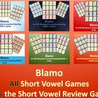 THIS SET HAS ALL SHORT VOWEL GAMES plus THE SHORT VOWEL REVIEW GAME.  These games are Uno like games that allows students to practice blending CVC ...