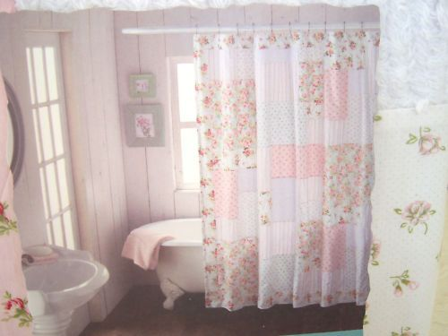 Shabby n Chic Cottage CHENILLE PINK ROSES & ROSEBUDS PATCHWORK SHOWER CURTAIN