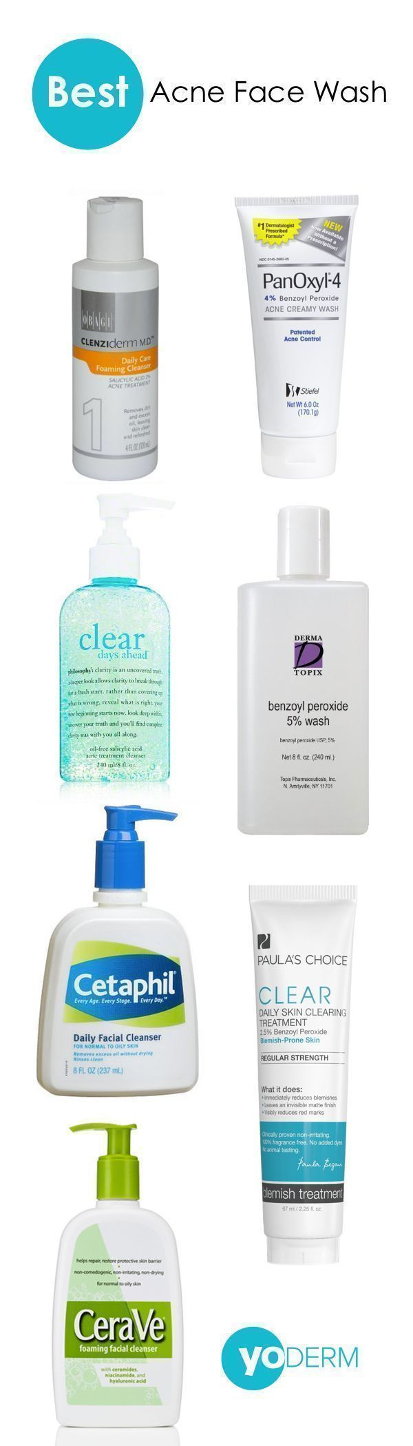 Choosing the best acne face wash can be an overwhelming task. There are many different kinds of facial cleansers with different active ingredients and different effects on your skin. So, what is the best acne face wash? We have broken your options down into three lists–starting with the most effective acne washes and ending with the best acne cleansers for sensitive skin. #facialcleanserforacne #facialcleansersensitive
