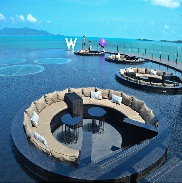 Infinity Pool lounges at the W Hotel in Koh Samui