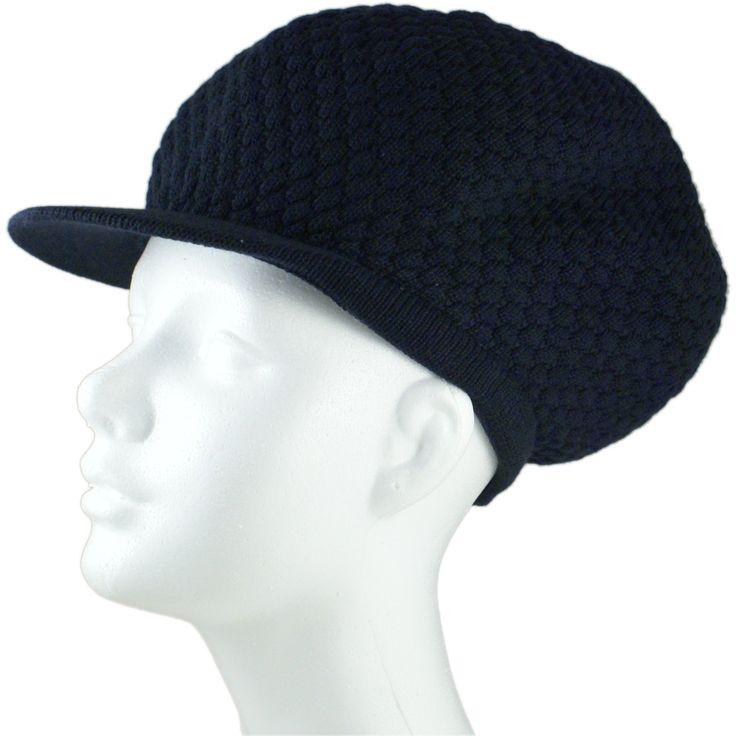 "Rasta Dread Knit Tam Hat - ""Dreadlocks Cap"" (Large Round Solid Navy, with Brim)"
