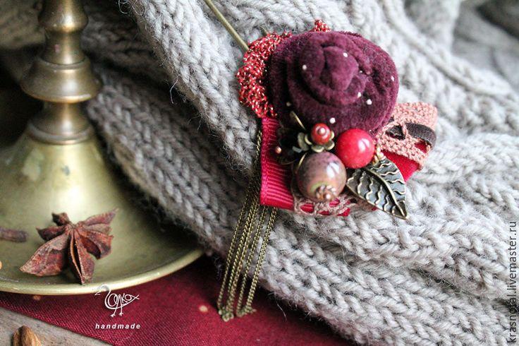 """Купить """"Глинтвейн"""" брошь булавка для шарфа, для шали, бордовая, красная. - брошь булавка бордовая"""