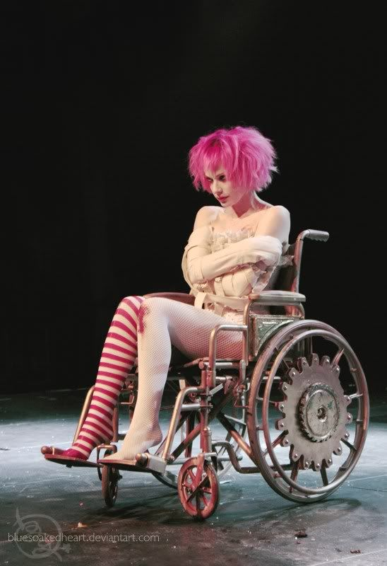 """Emilie Autumn, from her """"Erotic Medical Burlesque"""" show at KinKats, Munich, March 2009. Awesome wheelchair! 