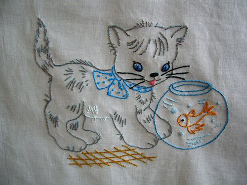 Kitty and Goldfish Quilt square by sewclever, via Flickr