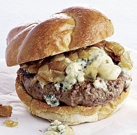 Beef Burgers with Blue Cheese and Caramelized Onions. Salty blue cheese, sweet onions, and juicy beef are a classic and addictive combination.