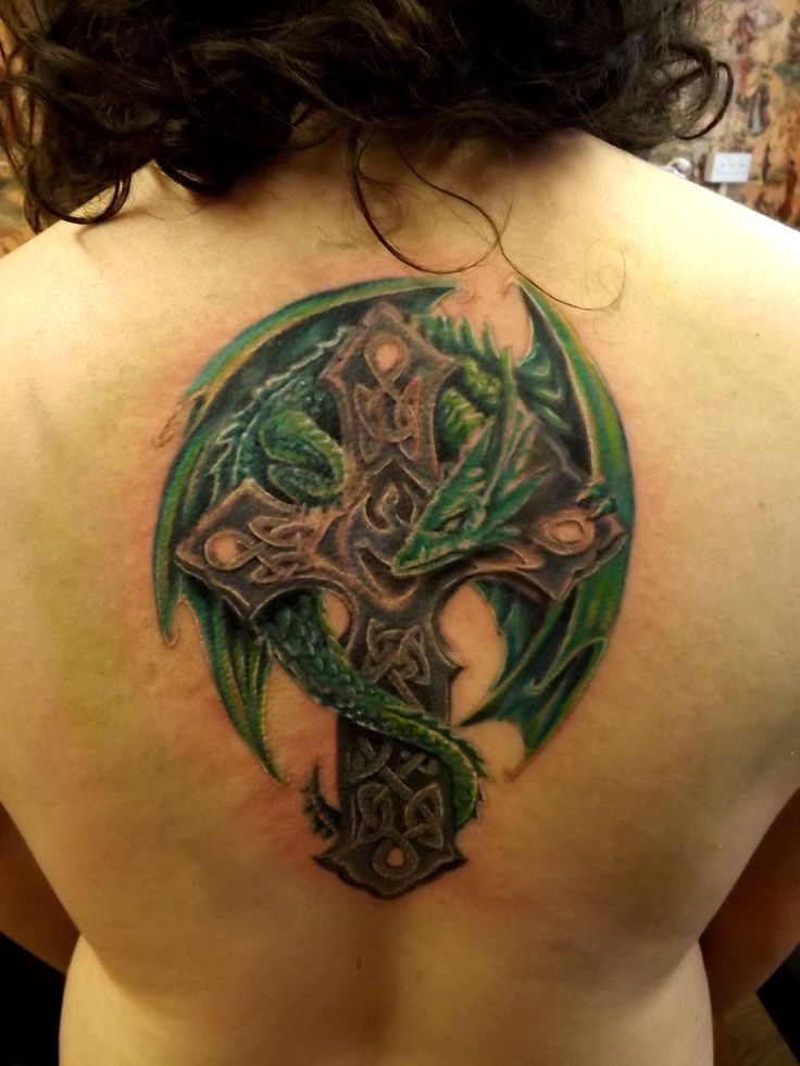 Dragon Celtic Cross tattoo in progress
