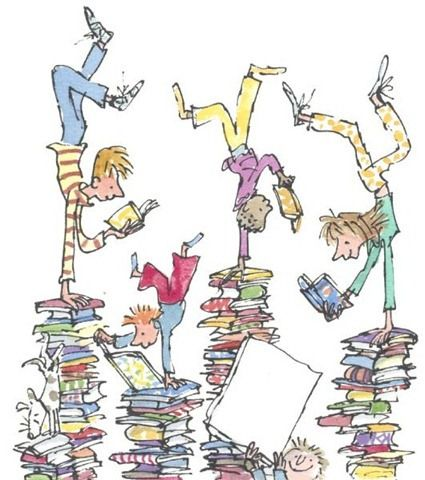 collective for children's & young adult literature, kids doing handstands while reading books