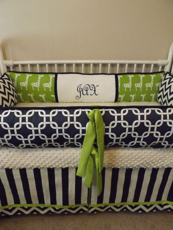 Navy Chevron  and LIME Giraffe Baby bedding Crib by abusymother, $50.00