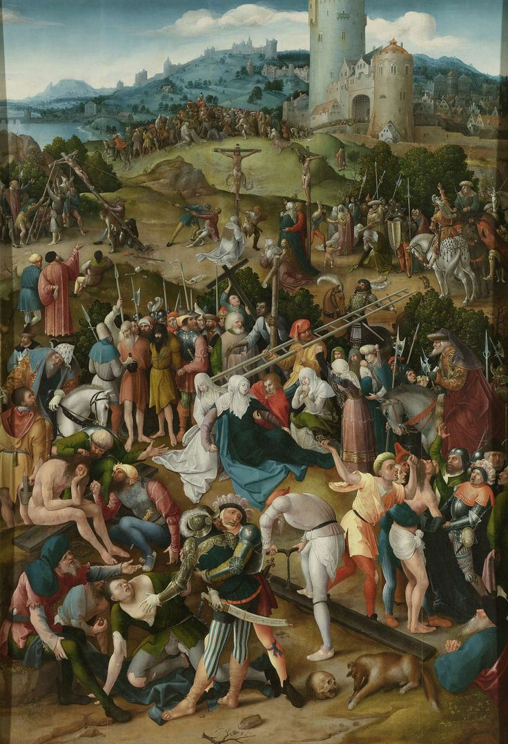 Calvary, Pseudo Jan Wellens de Cock, c. 1520 oil on panel, h 172.5cm × w 119cm  If you look closely, each person in this paining is wearing  different color clothes.  It make each person stand out.  The intensity of the oil colors makes that possible.  If the colors were not so intense, the people would have blended together making the crowd seem not as big and thus important.