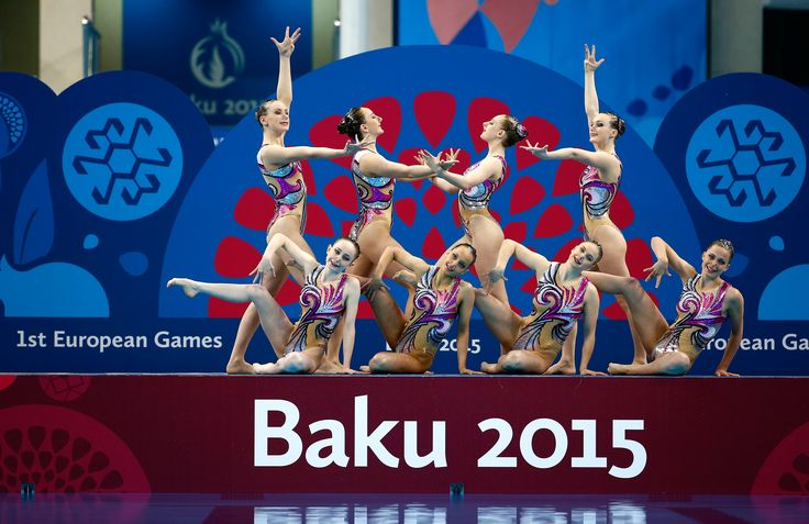 Team GB in the team synchronised swimming finals during day 3 of Baku 2015.