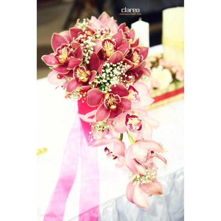 Pink cymbidiums handbouquet on Benny & Dian wedding by Clareo