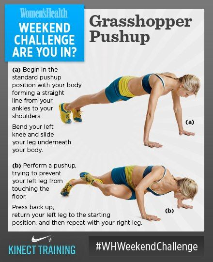 #WHWeekendChallenge WEEKEND CHALLENGE! Grasshopper Pushups. This move really engages your core along