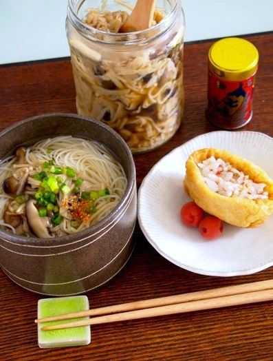 簡単ランチ♪自家製なめ茸そうめん☆お稲荷さん by P子さん | レシピ ...