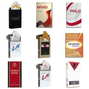 This Djarum packs cigarettes package contains:  1 Pack of Djarum Clavo 1 Pack of Envio Mild 1 Pack of Polo Mild 1 Pack of L.A. Ice Menthol 1 Pack of Djarum Black Cappuccino 1 Pack of Djarum Istimewa 16′s 1 Pack of Djarum Super 12′s 1 Pack of L.A. Lights 1 Pack of Djarum Mustang