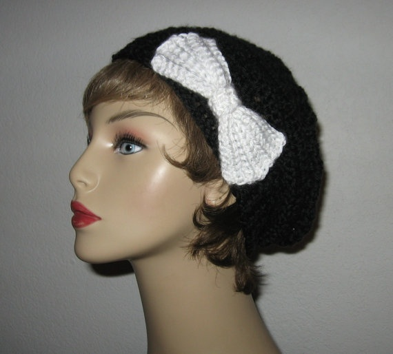 Black Slouchy Beret Hat Slouch Beanie Cap by CreativeDesignsbyAmi, $25.00