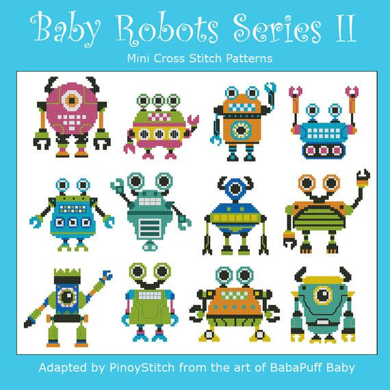 Baby Robots Series II  Minis Cross Stitch PDF Chart by PinoyStitch, $7.50