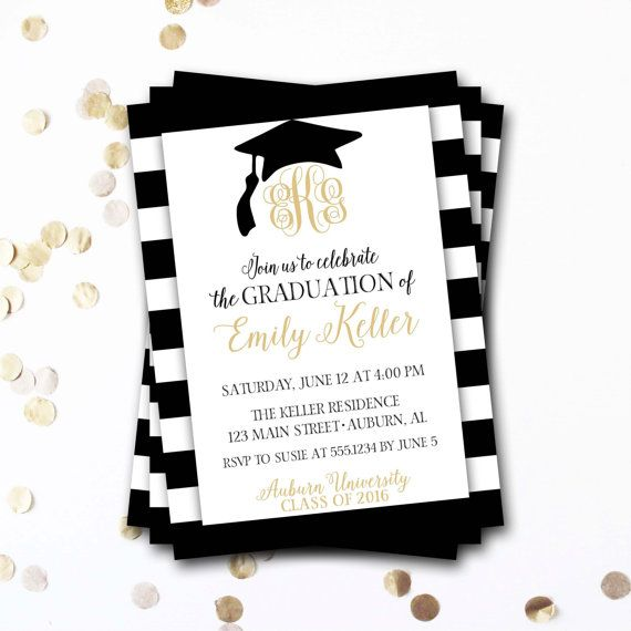 Best 25 graduation invitation wording ideas on pinterest grad monogram graduation invitation black and gold graduation invitation class of 2016 monogram invitation stopboris