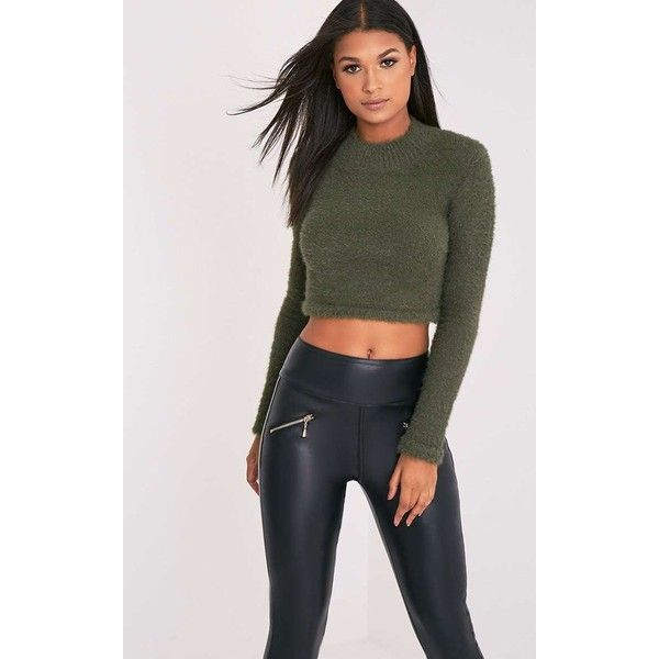 Ralda Khaki Fluffy Knit Long Sleeve Crop Jumper (£8) ❤ liked on Polyvore featuring tops, sweaters, green, long sleeve tops, green jumper, green crop top, cropped sweater and knit crop top