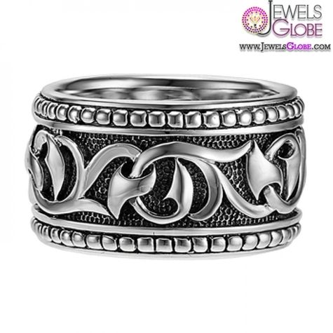 Scott Kay Mens Sterling Silver Gothic Ring with Sparta Engraving