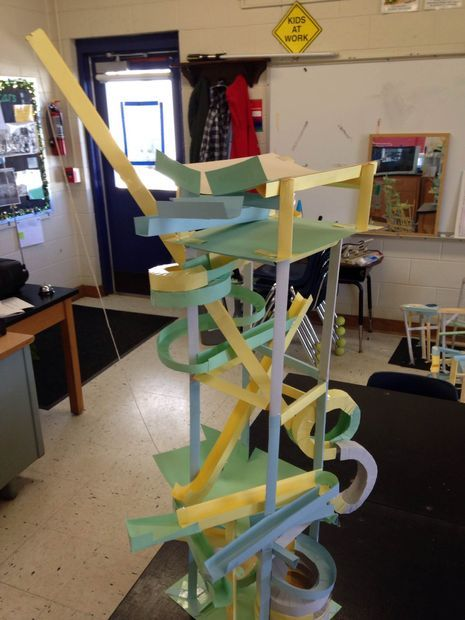 PAPER roller coaster (DIY marble race) science project from cardstock and tape! Instructables!!! Awesome fun for a science class for kids. Very fun physics.