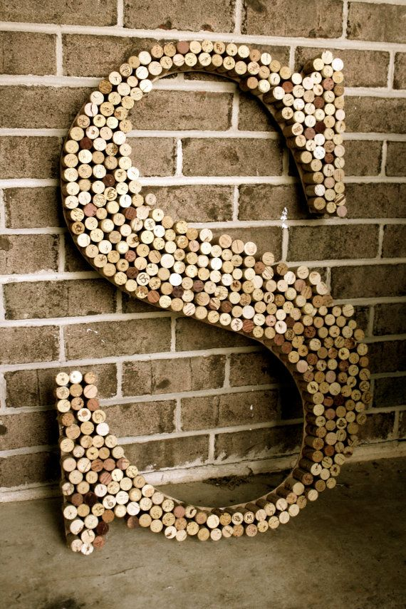Large Recycled Wine cork wooden letter by hammerandpaint on Etsy, $120.00