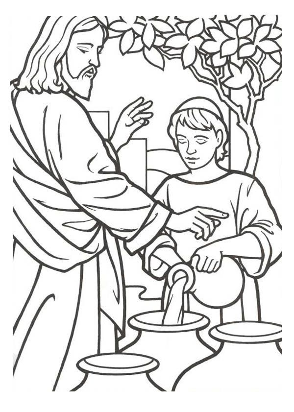 Miracles Of Jesus Is Turn Water Into Wine Coloring Page