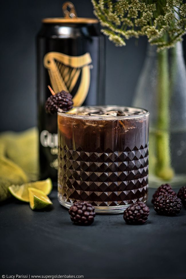 Guinness Black Magic Cocktail – bourbon, Guinnes and blackberries; the perfect cocktail for St Patrick's Day