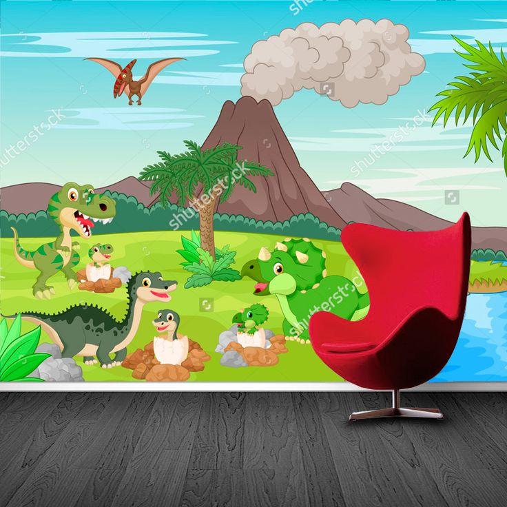 Fotobehang Dino babies | Maak het jezelf eenvoudig en bestel fotobehang voorzien van een lijmlaag bij YouPri om zo gemakkelijk jouw woonruimte een nieuwe stijl te geven. Voor het behangen heb je alleen water nodig!   #behang #fotobehang #print #opdruk #afbeelding #diy #behangen #kinderkamer #kind #jongenskamer #jongen #dino #dinosaurus #jurassic #prehistorisch #oertijd #vulkaan #cartoon #vrolijk
