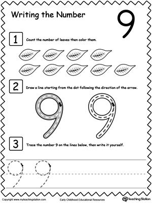 Teach your preschooler and kindergarten how to count and write numbers. Practice counting and writting number 9.