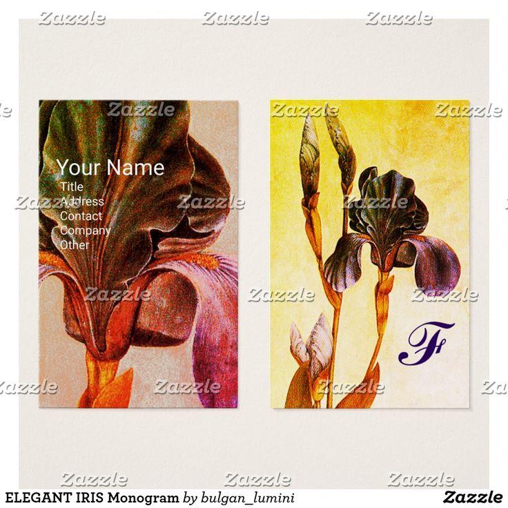 ELEGANT IRIS Monogram Yellow Business Card #flowers #beauty #nature #florist #floral #irises #fleurdelise #art