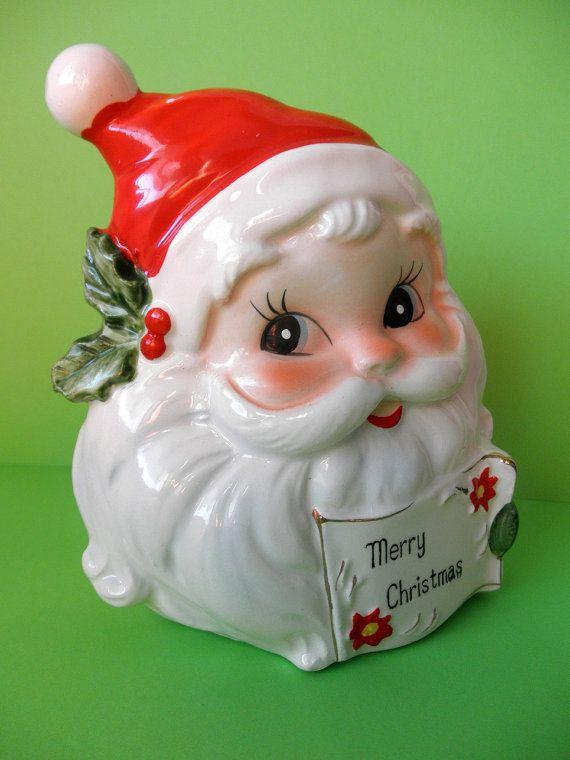 Santa Claus Napkin/Christmas Card Holder by Josef Originals - 50's Christmas Decor - Midcentury Christmas Decoration - Kitsch Xmas Red