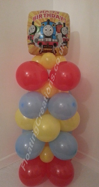 Thomas the Tank Engine Happy Birthday balloon column - https://www.facebook.com/balloonsglasgow