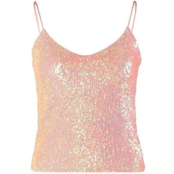 Miss Selfridge Top pink ($13) ❤ liked on Polyvore featuring tops, rose, low v neck top, spaghetti strap top, pink top, short tops and party tops