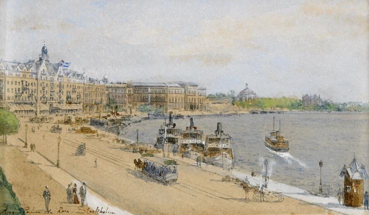 Anna Palm (1859-1924): Utsikt mot Grand Hotel, Nationalmuseum och Skeppsholmen