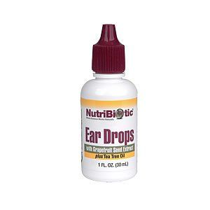 Nutribiotic - Ear Drops, 1 fl oz liquid by Nutribiotic. $5.95. Serving Size - 2 drops. Ear Drops by Nutribiotic 1 oz Liquid NutriBiotic First Aid Ear Drops with Grapefruit Seed Extract and Tea Tree Oil NutriBiotic First Aid Ear Drops are an excellent topical treatment for ear aches swimmer's ear and over-production of wax. This soothing antiseptic formula helps ease pain and soothe itchy irritated skin. Adults place 2 or 3 drops in affected ear. Children place 1 drop in affected ...